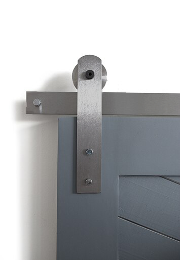 brushed steel front strap barn door hardware
